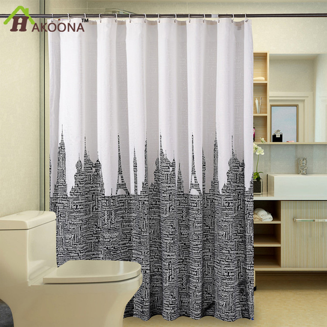 HAKOONA Alphabet Tower Bathroom Shower Curtain Hotel Blocking Sight Cloth  Thick Moldproof Waterproof Polyester Bathing Curtains