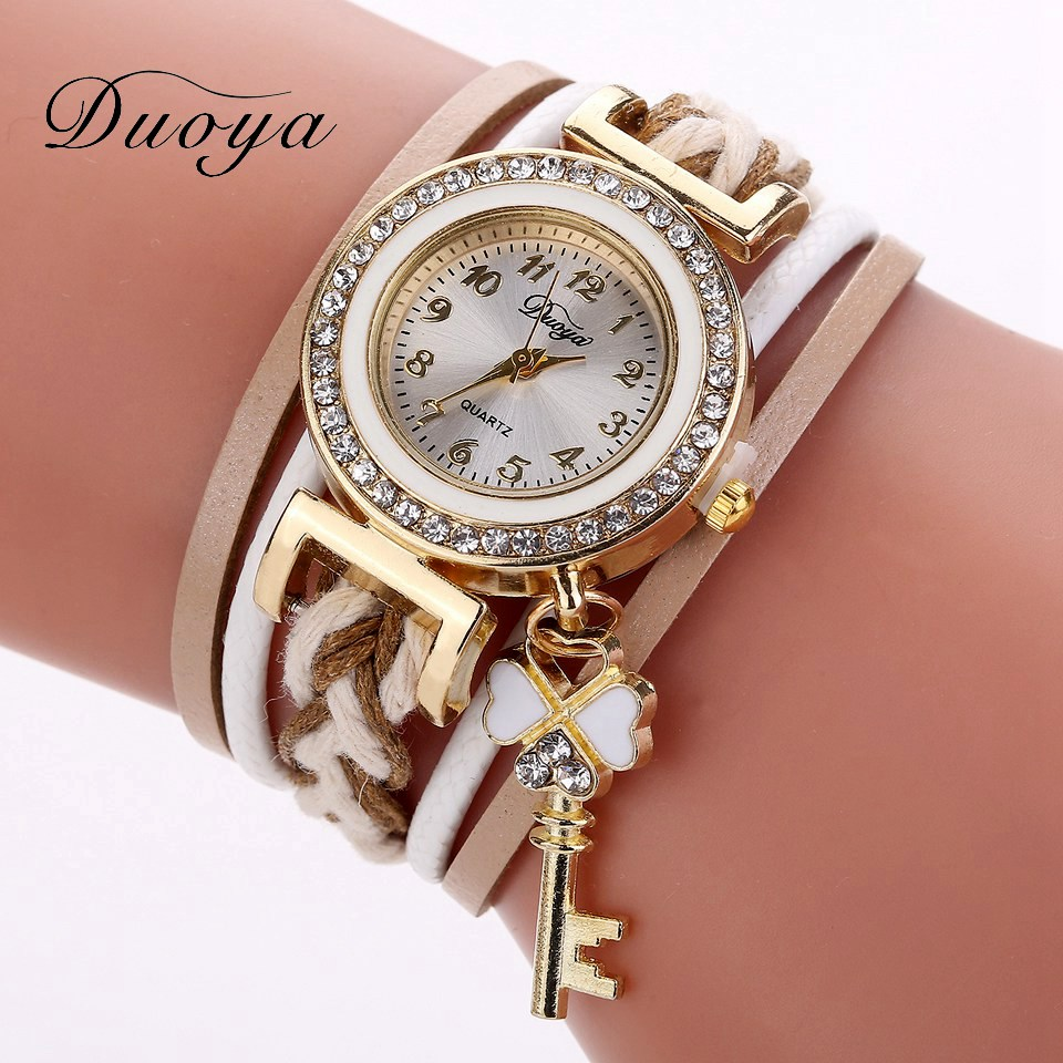 Duoya Brand Women's Wristwatch Luxury Gold Key Pendant Vintage Leather Quartz Watch Fashion Ladies Creative Wrist Women Watches duoya brand bracelet watches for women luxury gold crystal fashion quartz wristwatch clock ladies vintage watch dropshipping