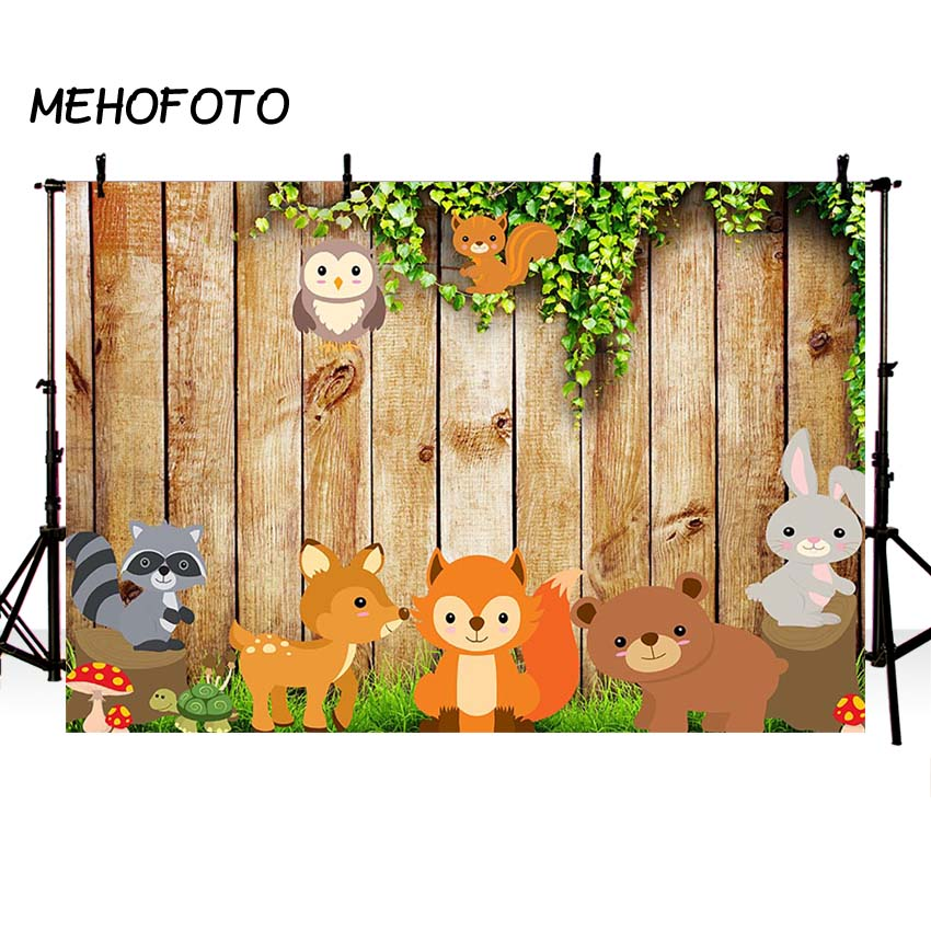 Woodland Party Photo Backdrops Brown Wood Board Photography Background Jungle Animal Birthday Party Banner Photobooth otomatik çadır