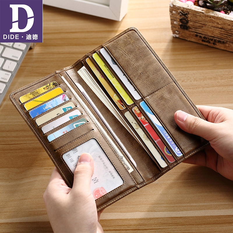 DIDE Genuine Leather Men Wallets Money Clip Male Walet Vintage Male Purses Long Wallet Mans Ultra-thin Clutch Bags DQ640
