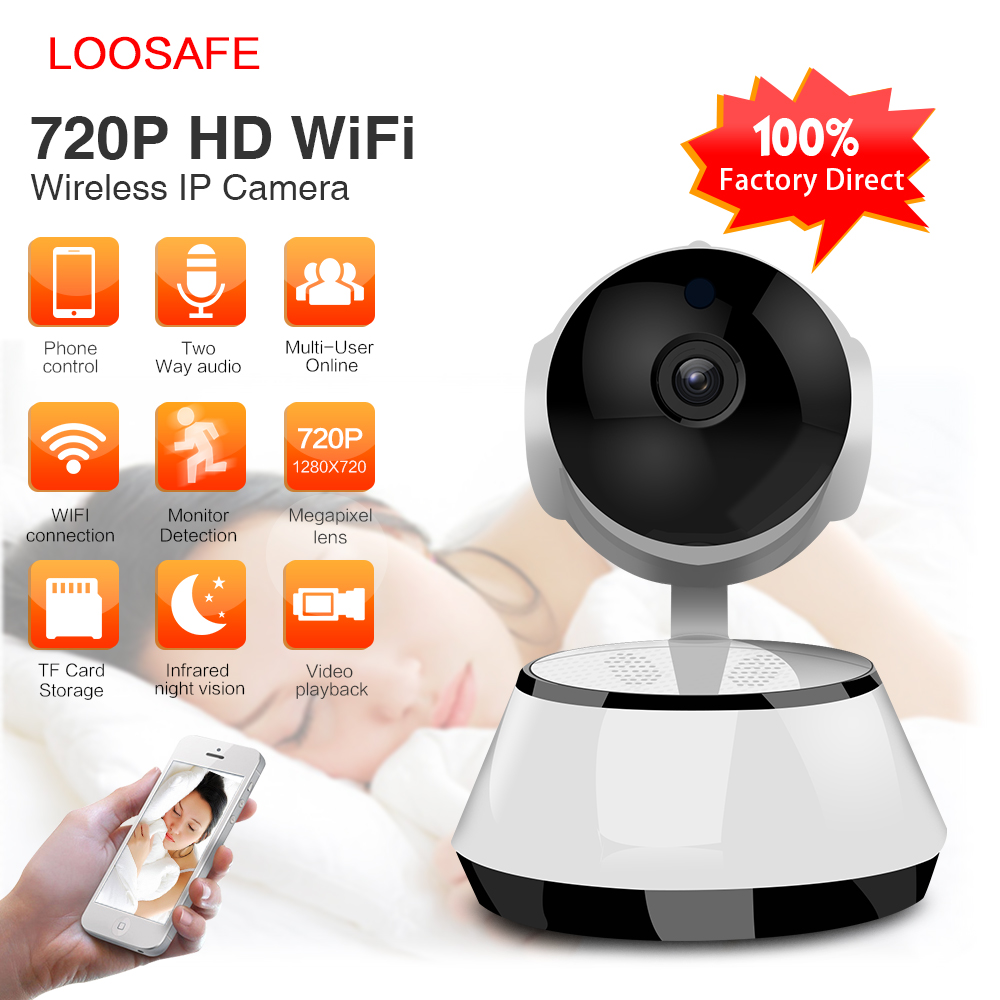 LOOSAFE IP Wifi Security Camera Baby Monitor Wifi Wireless IR-Cut Night Vision Home Surveillance CCTV Camera Network  LS-V8