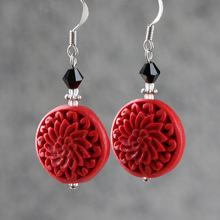 Red earrings carved lacquer flower gift jewelry vintage earrings women drop earrings for women