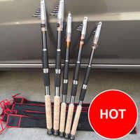 2.1 m 2.4 2.7 m 3.0 3.6 portátil vara de pesca telescópica fiação peixe mão pesca equipamento mar haste oceano
