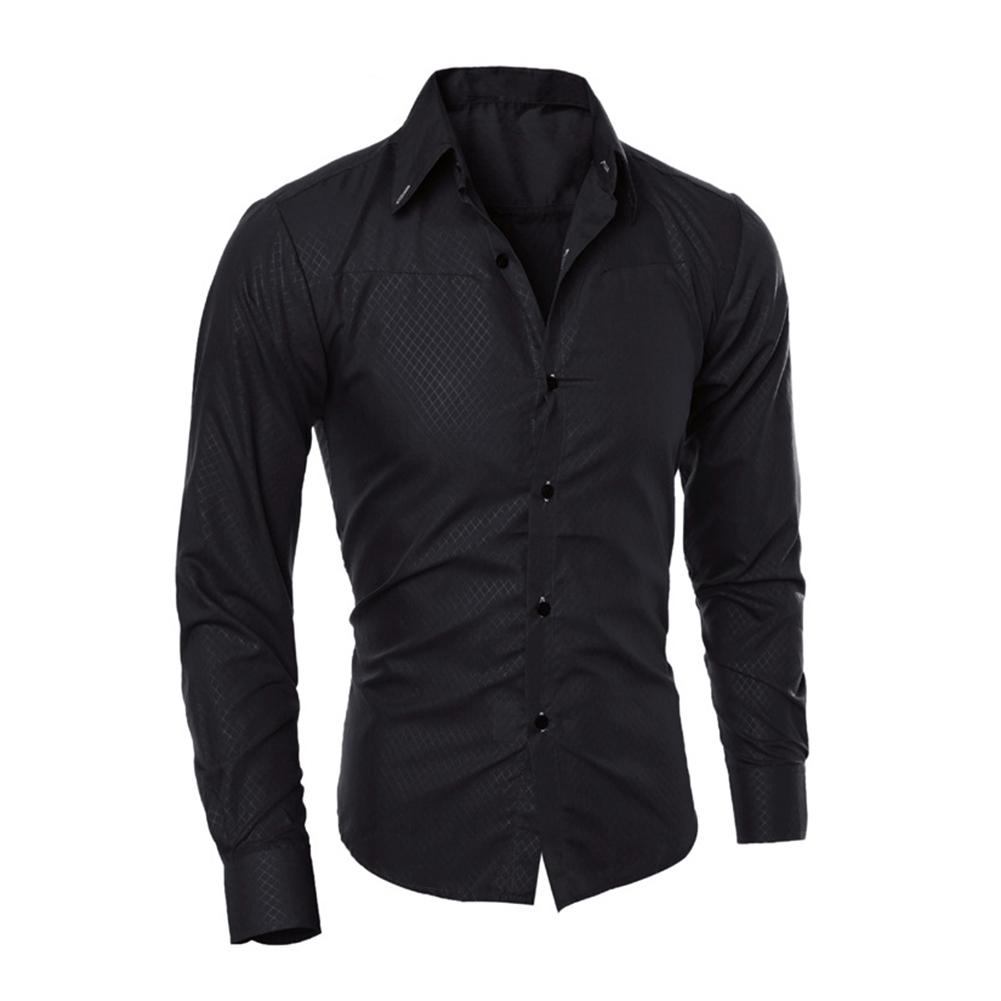 Men's Long Sleeve Slim Fit Shirt Button Front Business Work Formal Casual Top 2019