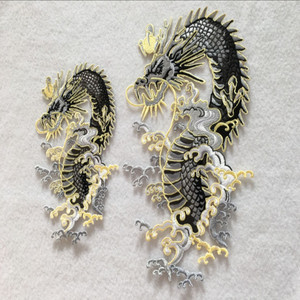 1 piece of embroidered patches dragon pattern 2 size appliques iron-on sewing accessories clothing patches handmade DIY zakka