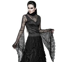 PUNK RAVE Gothic Women Spider Web Long Flare Sleeve T shirt Black Ladies Sexy Lace Adjustable Bandage Shirts Tops Tees Halloween