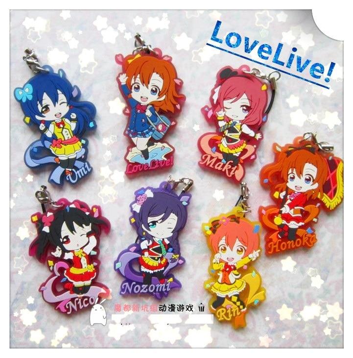 Kotori Nico Eli Rin Umi Maki Anime Love Live! Lovelive! Movie Version Rubber Keychain servamp anime vampire mahiru kuro snow lily jeje hyde food version japanese rubber keychain