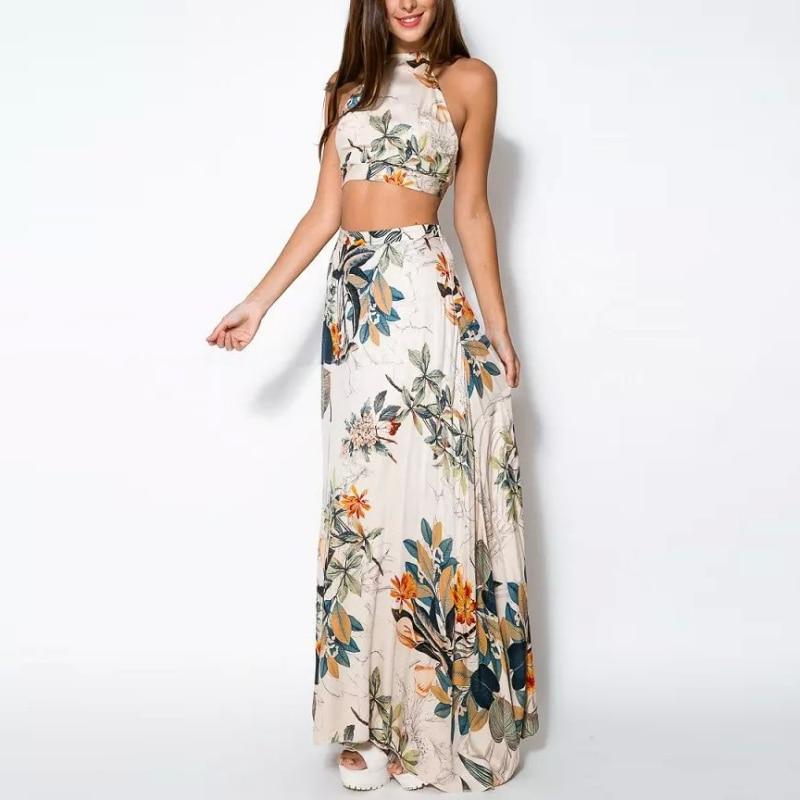 2018 FashionTop Women Bandage Floral Casual Beach Two Piece Crop Top Long Dress