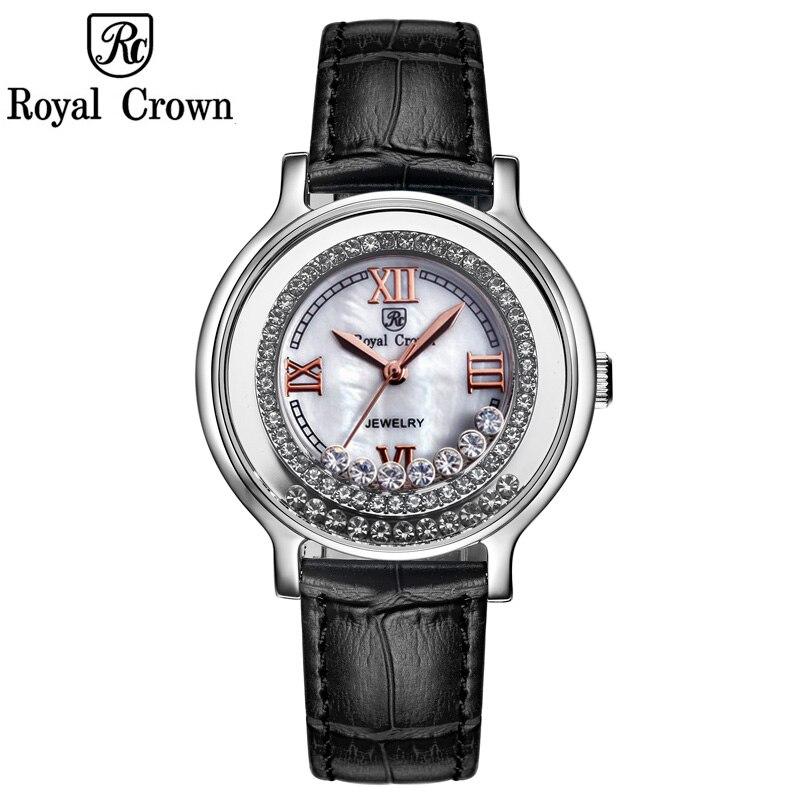 Royal Crown Luxury Lady Women s Watch Fashion Crystal Hours Dress Leather Clock Bracelet Rhinestone Girl