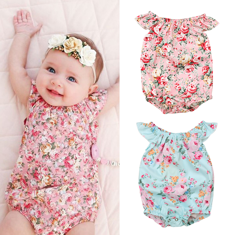 Rorychen Newborn Baby Girls Floral Cotton Casual Sleeveless Overalls Jumpsuit Bodysuit Cute Baby Girls Outfits Clothes