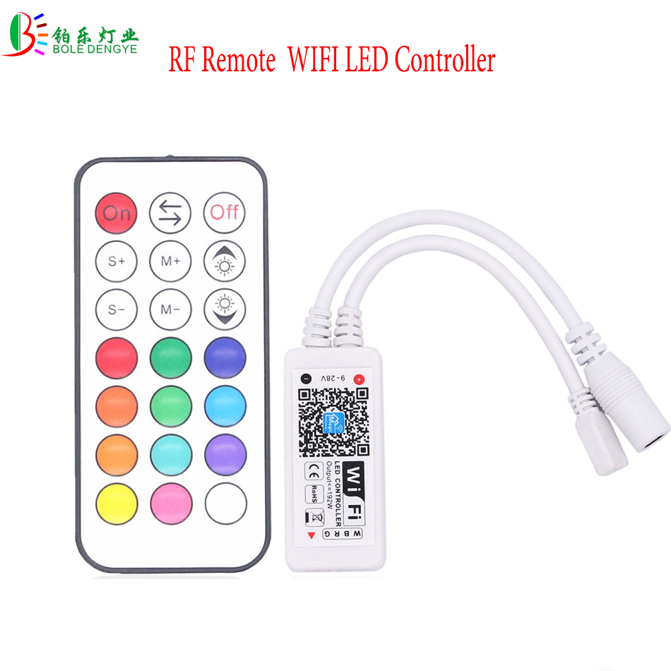 RF Remote WIFI LED Controller RGB Control DC12/24V Wireless RGBW Controler Phone Controller For 5050 3528 RGB RGBW LED Strip mi light wifi controller 4x led controller rgbw 2 4g 4 zone rf wireless touching remote control for 5050 3528 led strip