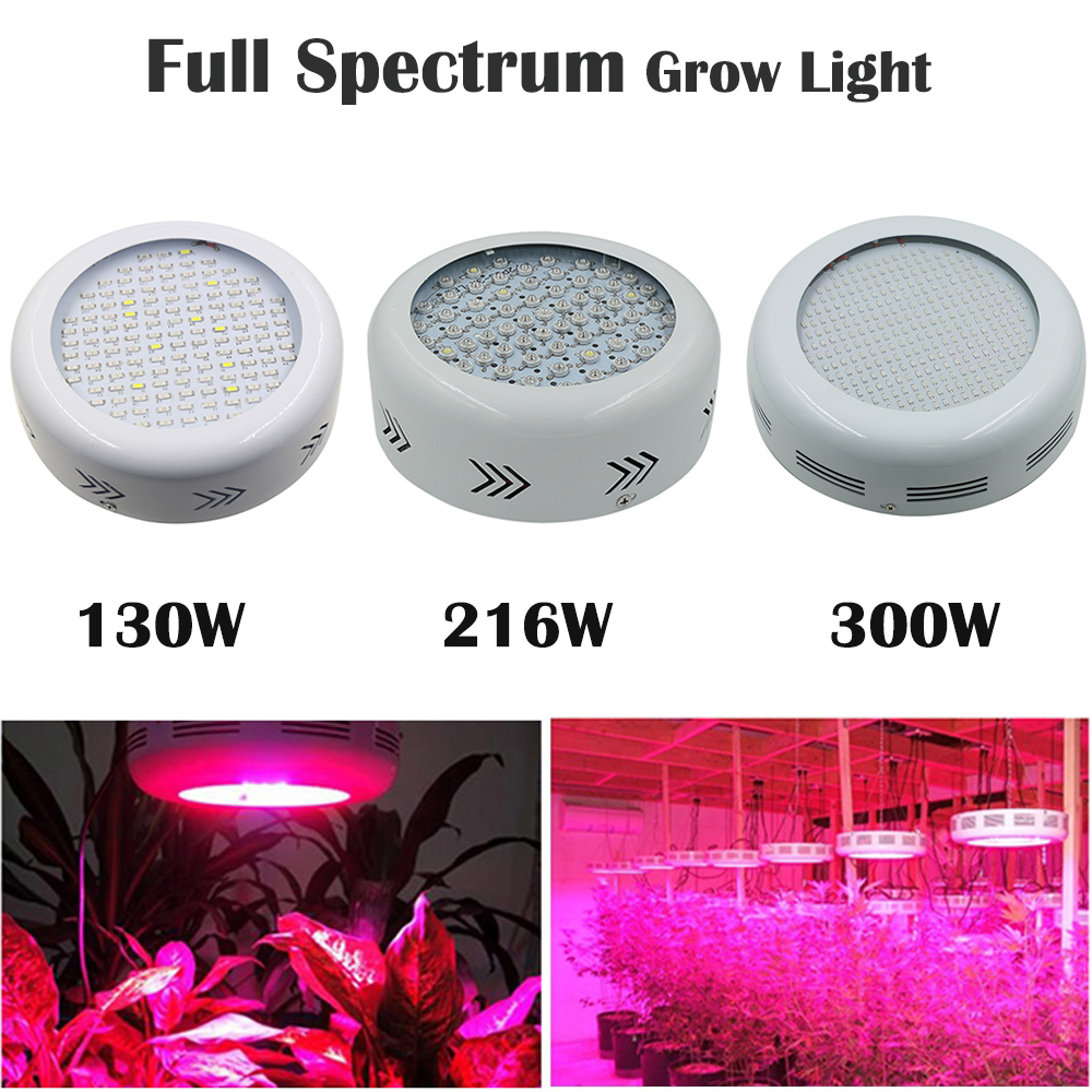 Full Spectrum 130W 216W 300W LED Grow Light 132LEDs 277LEDs Red/Blue/White/UV/IR For hydroponics and indoor plants 10pcs lot full spectrum led grow light 216w ufo grow box red blue white warm uv ir for indoor hydroponics plant and flower
