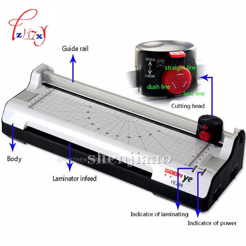 YE288 Smart Photo Laminator A4size Laminating Machine Sealed Plastic Machine Hot And Cold Laminator Photo Cutter