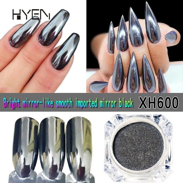 Bling Black Mirror Nail Glitter Powder Fashion Gold/Sliver Gray Nail ...