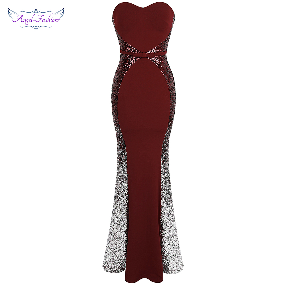 Angel fashions Prom Dresses Sweetheart Gradient Sequin Contrast Color Bow Sashes Splicing Dress Wine Red 384
