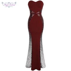 Image 1 - Angel fashions Prom Dresses Sweetheart Gradiënt Sequin Contrast Kleur Bow Sjerpen Splicing Jurk Wijn Rood 384