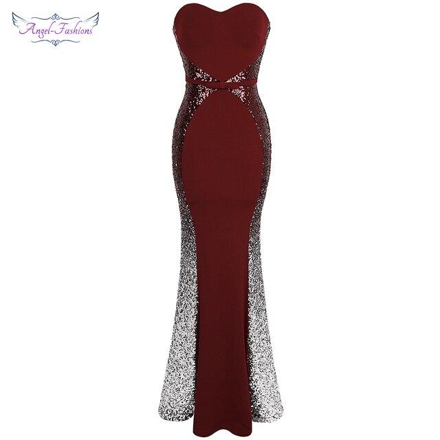 Angel fashions Prom Dresses Sweetheart Gradiënt Sequin Contrast Kleur Bow Sjerpen Splicing Jurk Wijn Rood 384