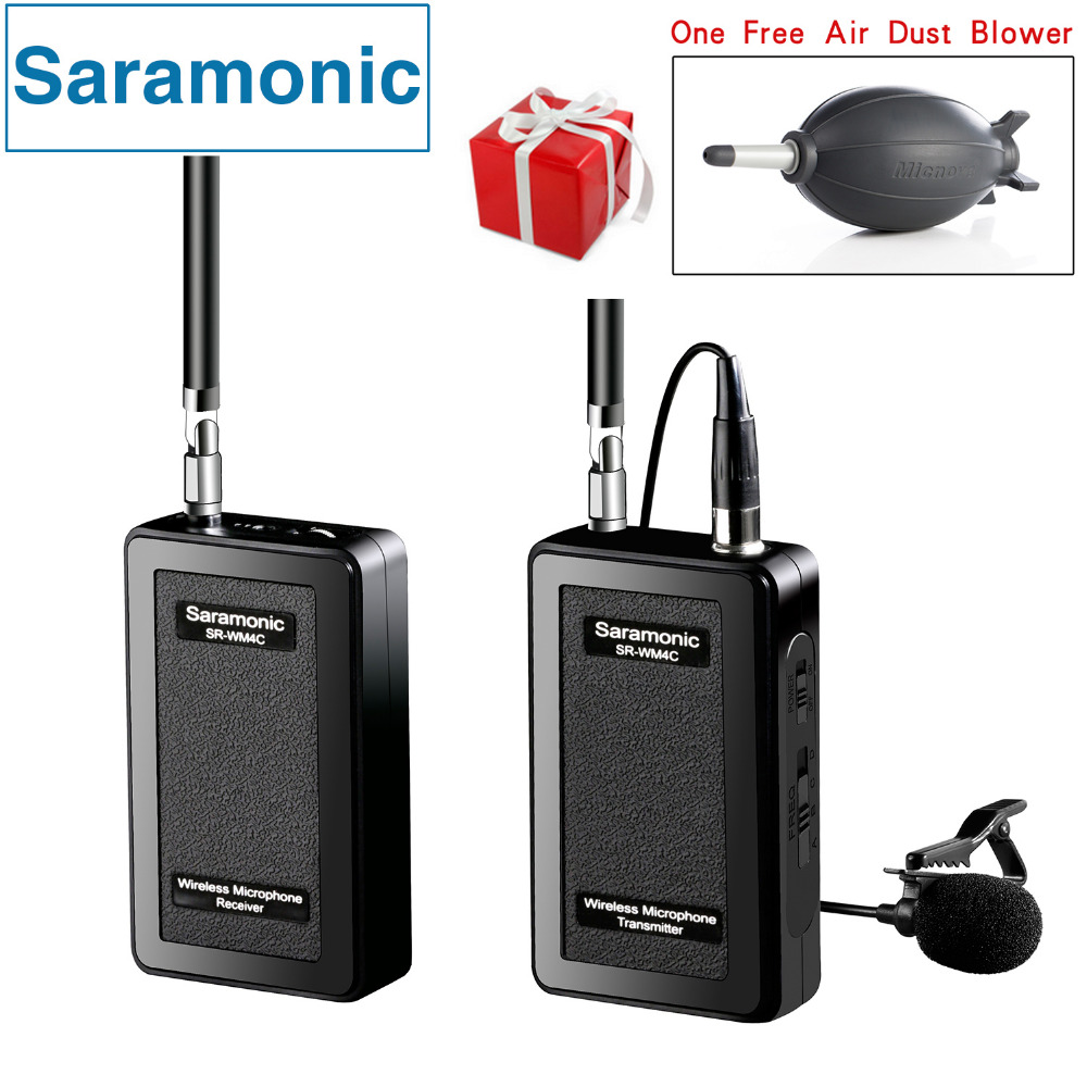 Saramonic SR-WM4C Lavalier Wireless Microphone for Canon Nikon Sony DSLR  Cameras Panasonic Camcorder GoPro Hero 4 3 3+ Action  boya by wm5 lavalier clip on mic audio studio recorder wireless microphone microfone for canon sony gopro dslr camera camcorder