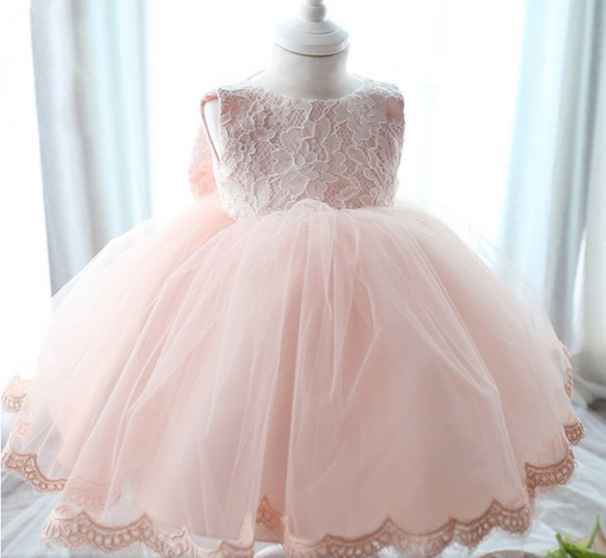 Baby Girl Dress Princess Lace Flower 1 year birthday dress For Party Wedding Baptism Baby Newborn Christening Gowns