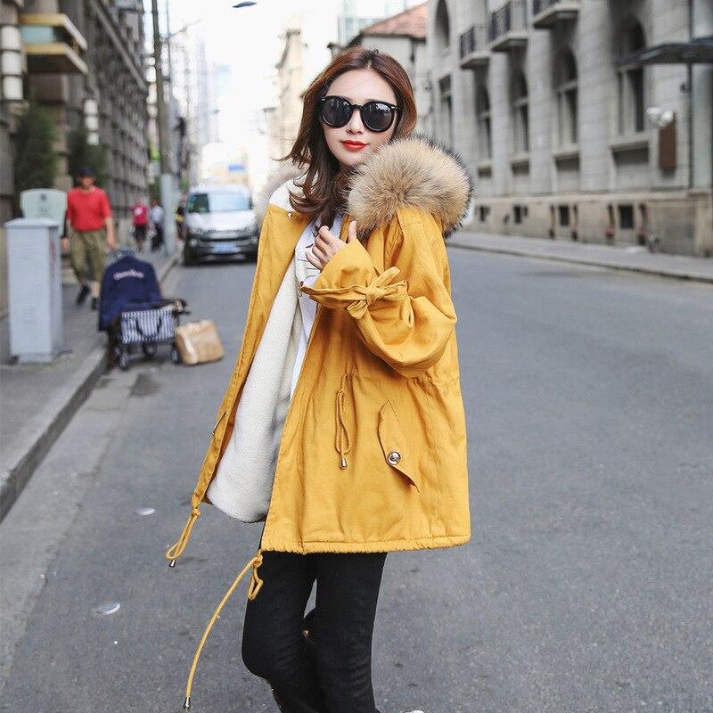De Grand Manteau Longue Épais yellow Coton Col Jaune Fourrure Section Outillage Hiver Femelle Cheveux Agneau q0xzPX