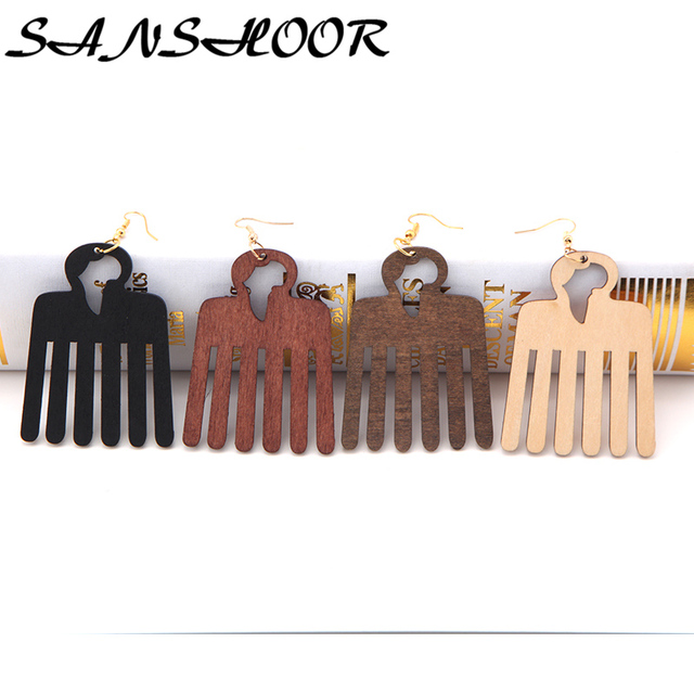 sanshoor 4colors natural wooden afro pick comb earrings with african map for women as mothers day
