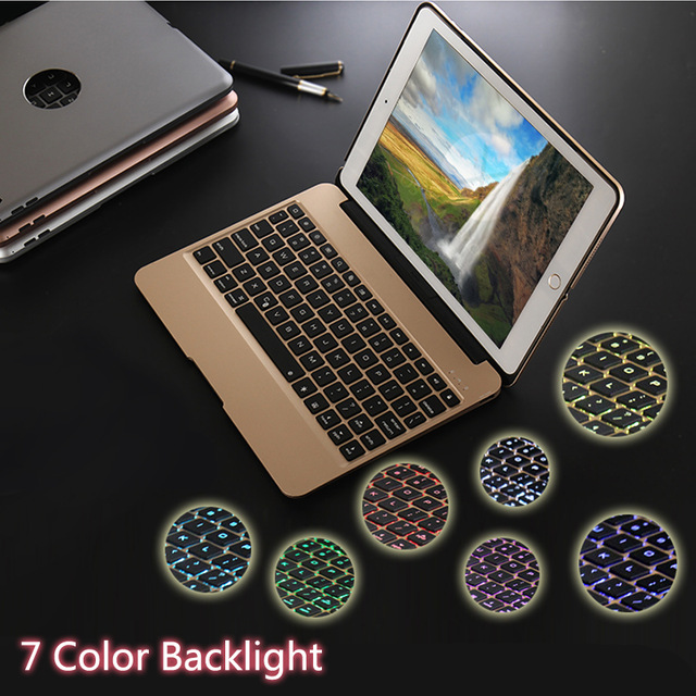New Aluminum Keyboard Cover Case with 7 Colors Backlight Backlit Wireless Bluetooth Keyboard & Power Bank For ipad 6 / Air 2 ultrathin wireless keyboard for ipad air bluetooth keyboard with 7 colors backlight backlit magnetic rotating slot smart cover