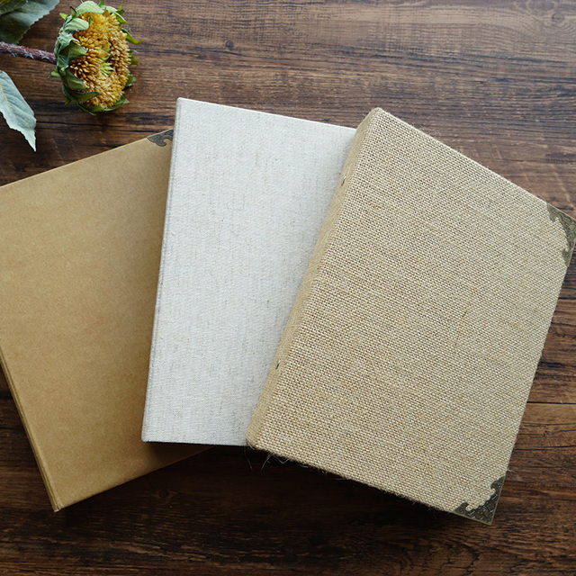 Kraft Paper Linen Fabric Cover Traditional Photo Album Blank With