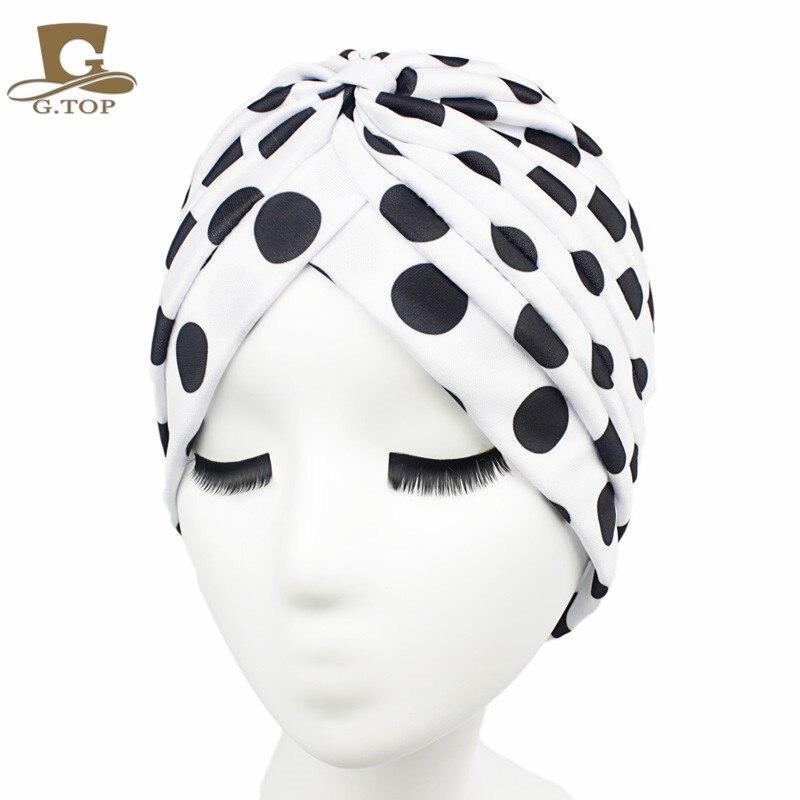 Wanita baru Busana Sorban Gaya India Kepala Wrap Cap Topi Penutup Rambut  Ikat Kepala berbagai cetak 18fe3bb26e