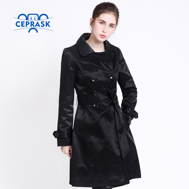 2018 Hot sale Spring Autumn Brand Casual Trench coat for women Plus Size Long Double breasted Europe Windbreaker Outerwear Coats