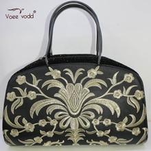 Fashon Casual Genuine Leather Embroidery Beach Bags Women VOEEVODD Hobos Handbag G2237