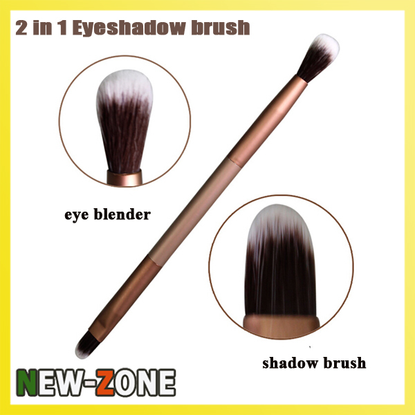 Noble Golden Color 2 in 1 eye shadow brush eye makeup blender super fine soft contour brush Cosmetic tool
