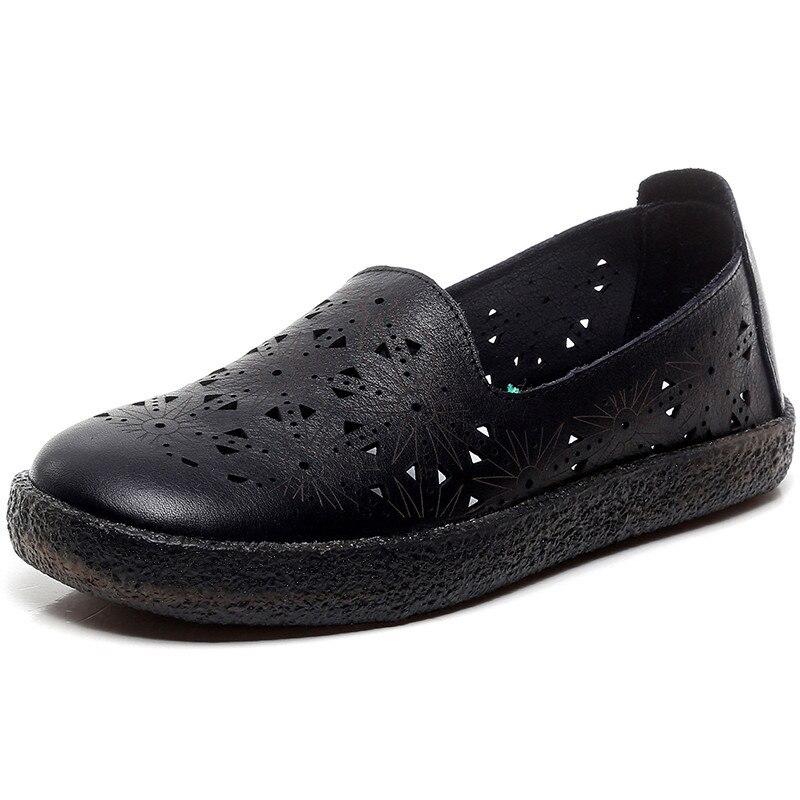 En Décontractées Sandales Plates 2019 Cuir Nouveau Confort D'été Respirant Véritable Beige Doux Pour Femmes blanc noir Printemps Chaussures Espadrilles 76vYbyfg