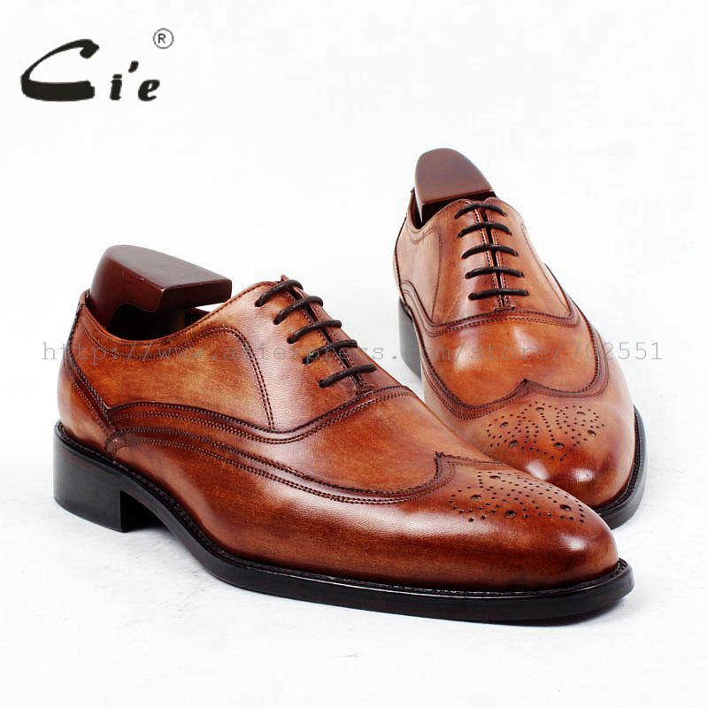 cie Free shipping full brogues bespoke handmade men's oxford calf leather outsole breathable brown shoe narrow last shoe OX402 cie free shipping handmade tassels buckle loafer brown white matching calf leather bottom outsole men shoe 3 crafts loafer66