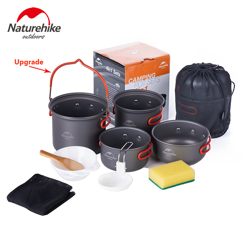 Nature randonnée en plein air 2-3 personnes 4 en 1 Pot bol ensembles Camping ustensiles de cuisine Portable pique-nique plaque NH15T401-G