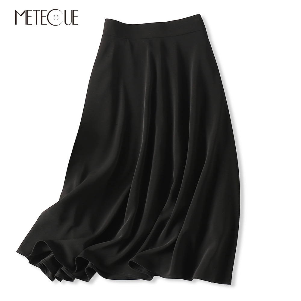 blanco Falda Triacetato Mujer Sedoso Elegante Swing Negro Las Mujeres Primavera Alto Talle Negro 2019 Faldas De Verano Una Línea EXUqdqA