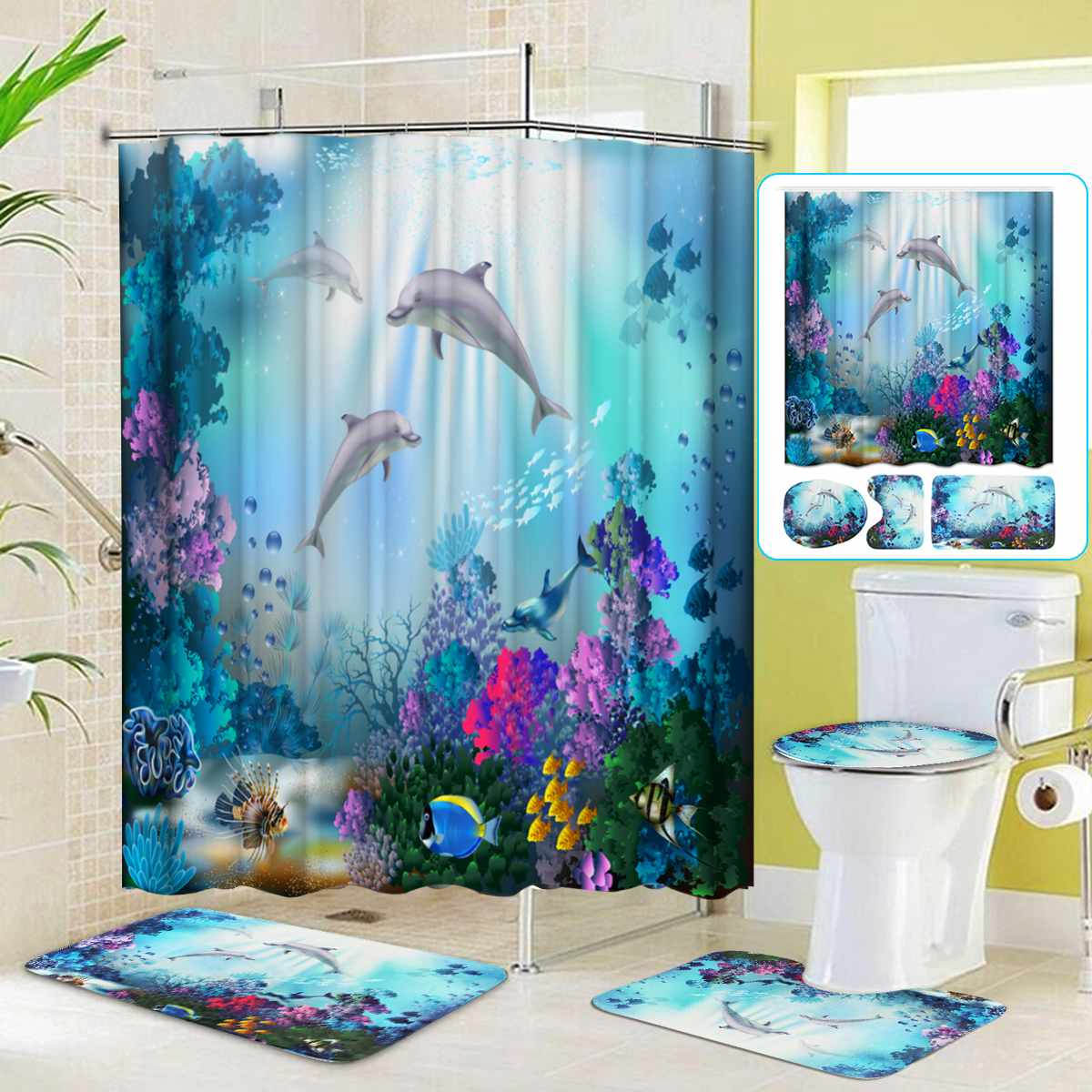 NEW Ocean Dolphin Shower Curtain Polyester Waterproof Curtains + Pedestal Rug Lid Toilet Cover Bath Mat Set For Bathroom Decor