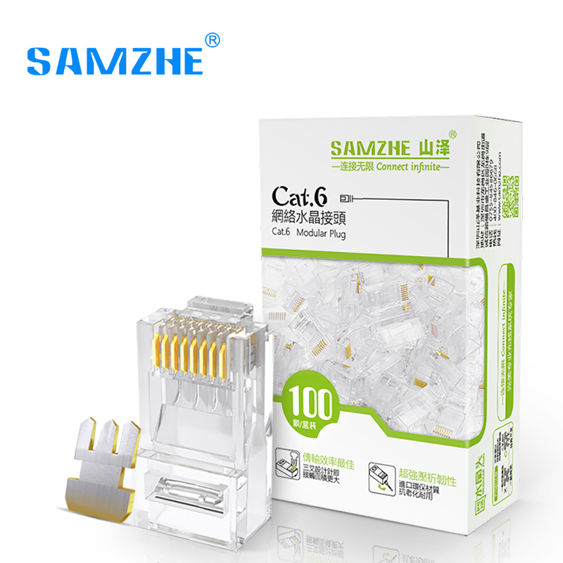 SAMZHE Cat6 RJ45 Modular Plug 8P8C Connector for Ethernet Cable,Gold Plated 1Gbps CAT 6 Gigabit Bulk Ethernet Crimp Connectors hot sale round neck creative 3d zipper street scenery print rib hem men s long sleeves sweatshirt