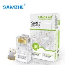 SAMZHE CAT6 RJ45 модульный разъем 8P8C разъем для кабеля Ethernet, позолоченные 1 Гбит/с Cat 6 Gigabit оптом Ethernet обжимной Инструменты для наращивания волос