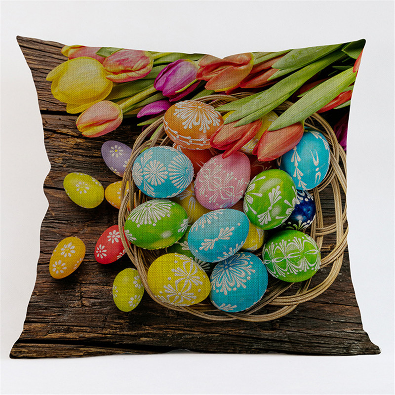 Easter eggs rabbit cartoon pattern Home Pillow Case cushion Cover Office sofa chair car coffee shop home decoration Party Gift