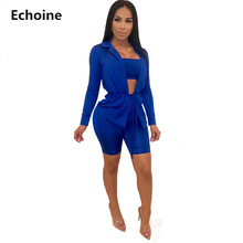 Women 3 Pieces Set Long Sleeve Jacket Tube Top Shorts Sexy Bodycon Club Outfit Streetwear two piece set top and Pants