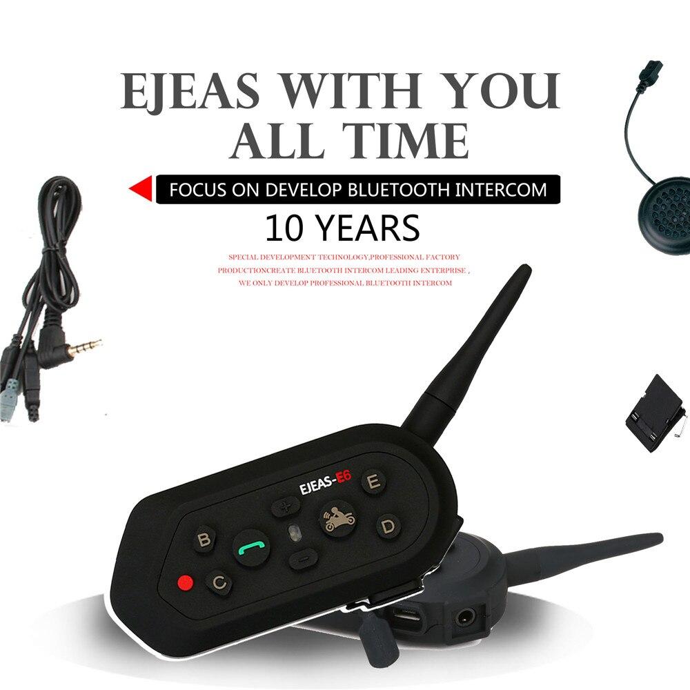 Evolutionize E6 Multifunction Bluetooth 3.0 Intercom Full Deplex IP65 Waterproof AUX Input Team Intercommunicador For 6 Riders