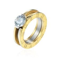 Женское кольцо с кристаллами классическое украшение из нержавеющей