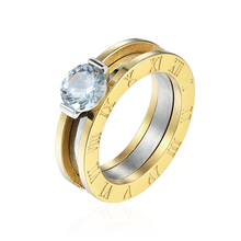 Top Quality Classic Design Can Be Broken Down Into Two Stainless Steel Woman Crystal Rings Lovers Brands Jewelry Rings For Woman