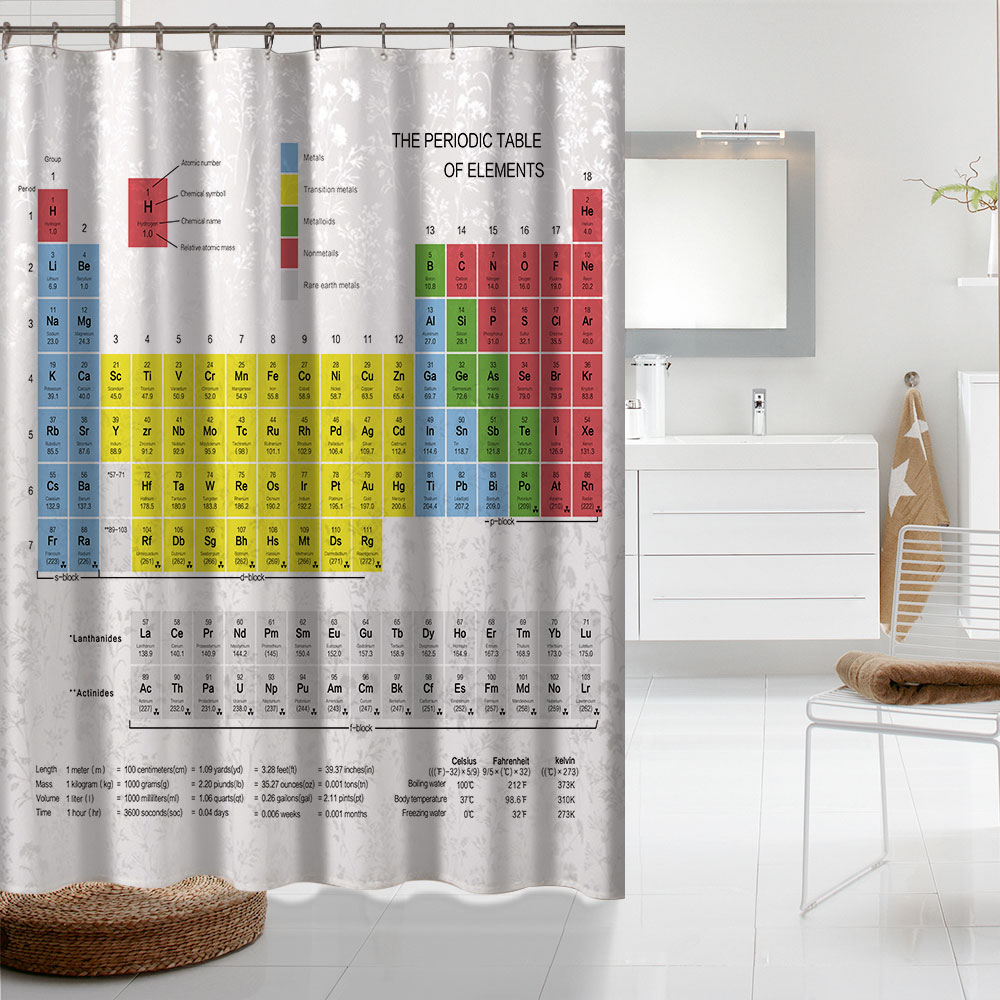 Creative periodic table of elements digital printing shower creative periodic table of elements digital printing shower curtains bathroom products hotel shower curtains home bath decor in shower curtains from home urtaz Image collections