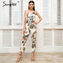 Simplee Sexy strap floral print women jumsuit Loose ruffle boho jumpsuit romper Casual beach summer jumpsuit 2018(China)