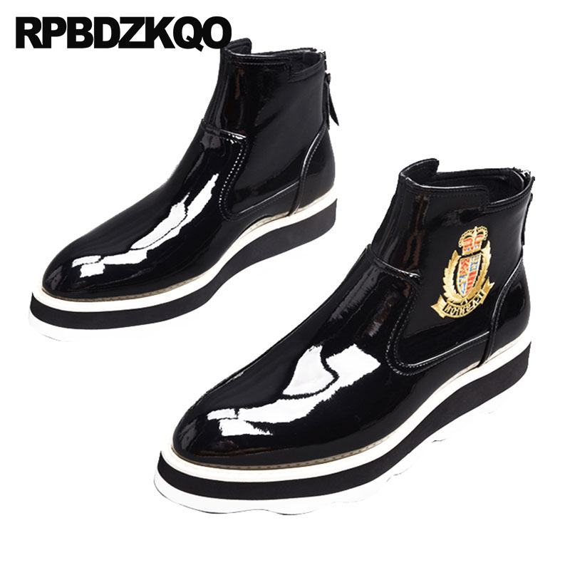 Pointed Toe High Sole Harajuku Fur Mens Black Patent Leather Boots Shoes Zipper Thick Soled Pattern Top Winter Booties Platform