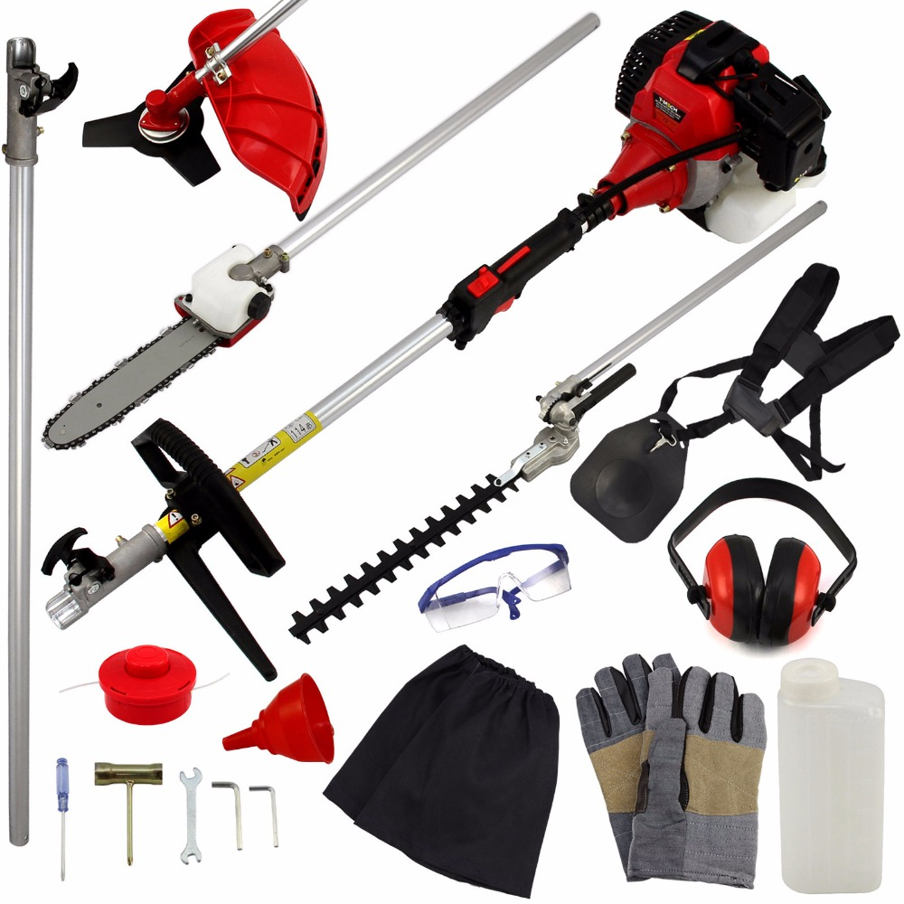 2017 New Power Garden Hedge Trimmer 5 in 1 Petrol Strimmer Chainsaw Brush cutter Multi Tool