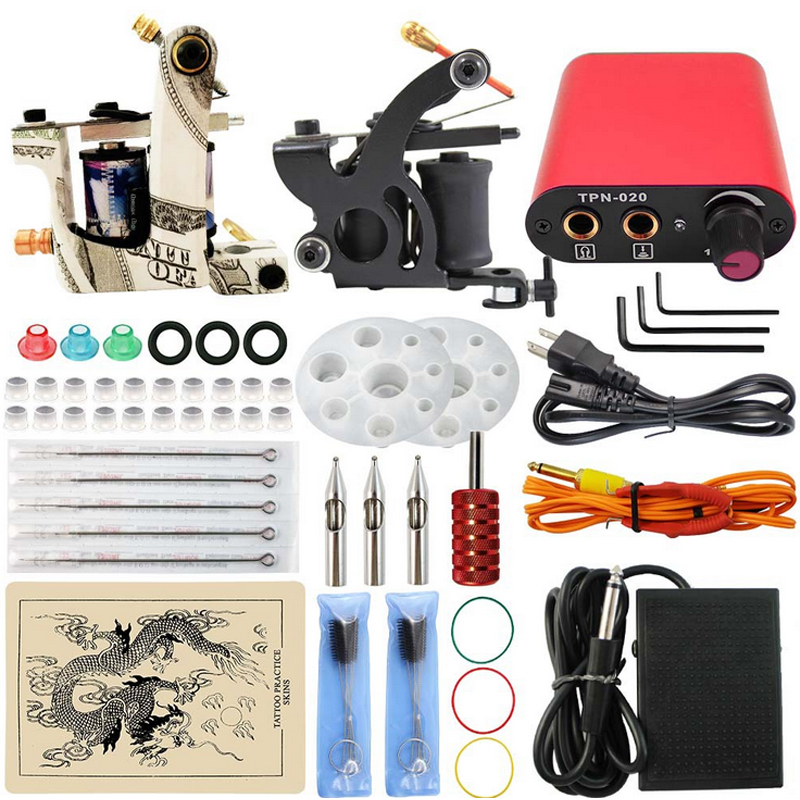 Professional Tattoo kits Complete Tattoo Set Dual 2 Tattoo Machine Guns Power Supply Cord Kit Body Beauty free shipping p80 panasonic super high cost complete air cutter torches torch head body straigh machine arc starting 12foot