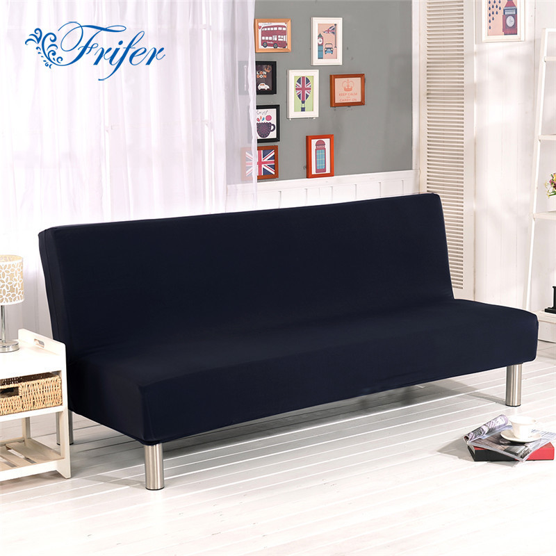 Solid Universal Anti dirty Black Armless Couch Sofa Covers For Living Room Stretch Sofa Bed Covers