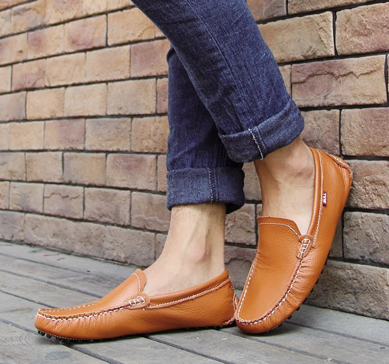 83dcebfb1f 2015 Fashion Spring men genuine leather shoes summer Breathable casual  flats shoes male driving gommini loafers boats shoes